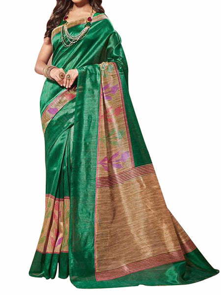 Cotton Silk Green Color Saree With Cotton Silk Green Blouse - PWBSAI28JL93