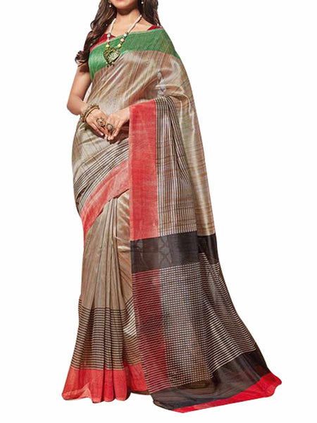 Cotton Silk Silver Color Saree With Cotton Silk Red Blouse - PWBSAI28JL98
