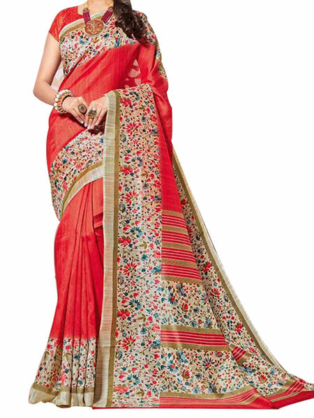 Cotton Silk Red Color Saree With Cotton Silk Red Blouse - PWBSAI28JL102