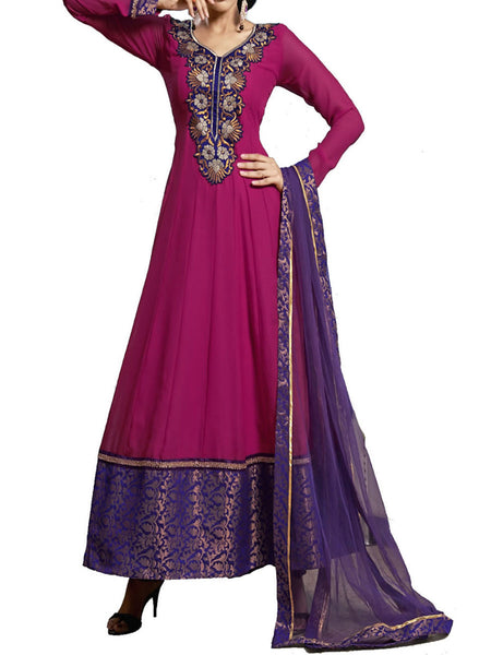 Fuchsia Color Embroidered Semi Stitched Anarkali Suit - ST-PKAS9JY5