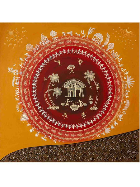 Acrylic on canvas Yellow Brown Circle Warli Painting - K1-WMDP18FB7