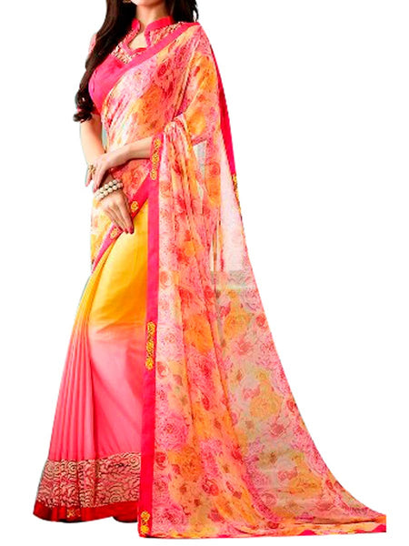Yellow & Pink Georgette Saree With Pink  Raw Silk Blouse - PWBSAI24MA7
