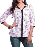 Cotton Printed Short Indo Western Style White Kurti From Ahmedabad - OFVPK17FB114