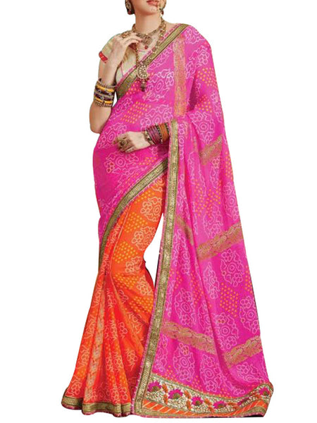 Saree From West Bengal In Pink & Orange - PWBSAI19JN17
