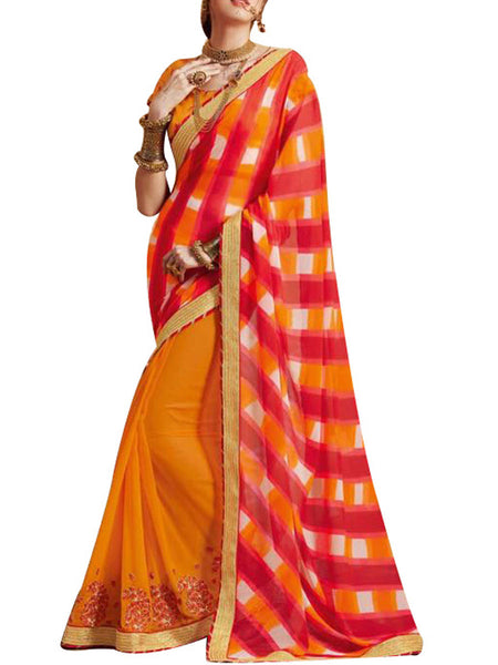 Saree From West Bengal In Orange & Red - PWBSAI19JN21