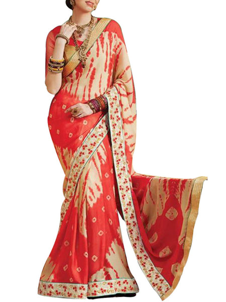 Saree From West Bengal In Cream & Red - PWBSAI19JN25