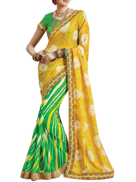 Saree From West Bengal In Green & Yellow - PWBSAI19JN26