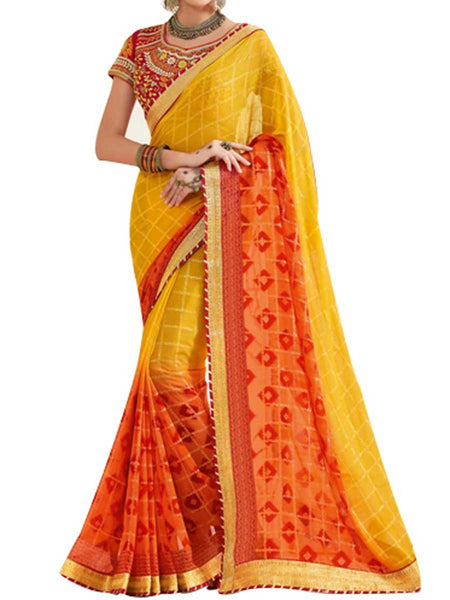 Georgette Yellow & Red Saree With Raw Silk Multi Blouse - PWBSAI28JL54