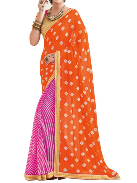 Georgette Multi Saree With Jacquard Brocket Multi Blouse - PWBSAI28JL58