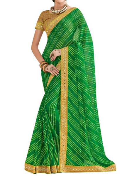 Georgette Green Saree With Jacquard Brocket Golden Blouse - PWBSAI28JL59