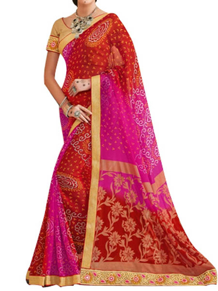 Georgette Multi Saree With Jacquard Brocket Golden Blouse - PWBSAI28JL63