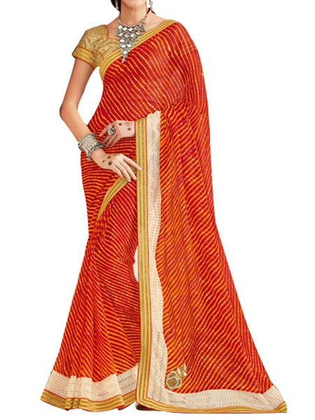 Georgette Red Saree With Jacquard Brocket Golden Blouse - PWBSAI28JL66
