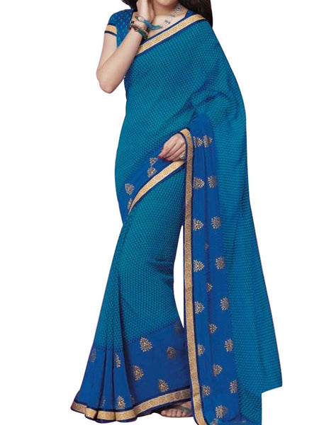 Blue Georgette Saree With Blue Jute Blouse - PWBSAI8APL5