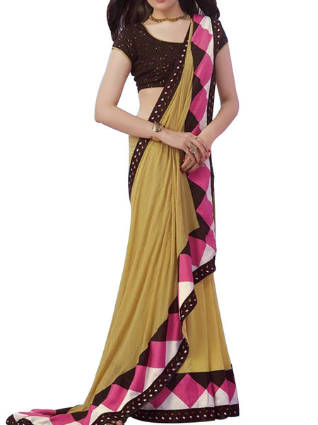 Beige Georgette Saree With Brown Dhupian Blouse - PWBSAI8APL7