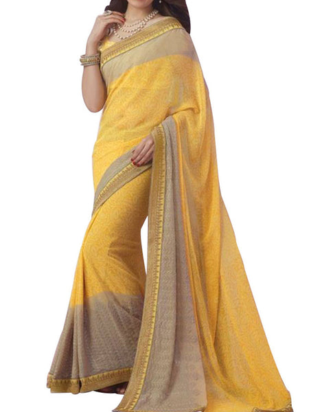 Yellow Georgette Saree With Yellow Fancy Fabric Blouse - PWBSAI8APL12