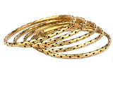 Five Golden Brass Moradabad Bangles-CHUJB703