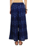 Chikankari Embroidered Fusion Palazzo Pants from Lucknow In Indigo - VD-APLJP30JY12