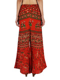 Block Print Jaipuri Palazzo Pants In Crispy Orange - PJRTPP19MA13