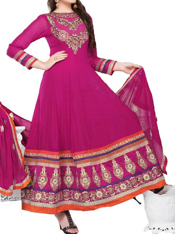 Beautiful deep pink color grorgette anarkali  - ST-PKAS9JY13