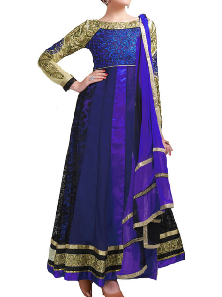 Stylish blue color gold designer embroidered anarkali suit - ST-PKAS9JY14