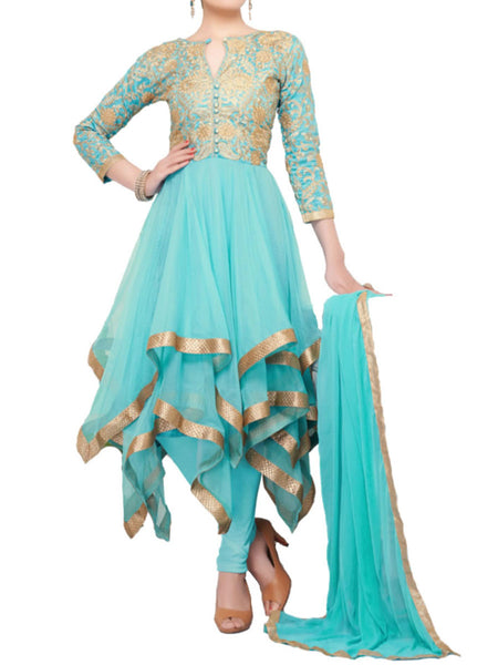 Passion sky blue color gold lace and embroidered suit - ST-PKAS9JY15