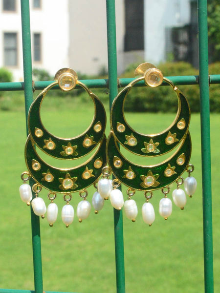 Earring From Moradabad In Golden & Green - DD-CHUJE11AG9
