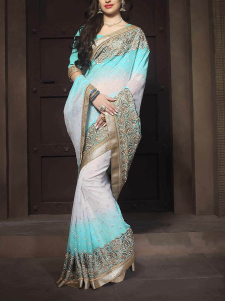 Zari Work Saree From Surat In Sky Blue & Pink - ST-PSSA26AG2