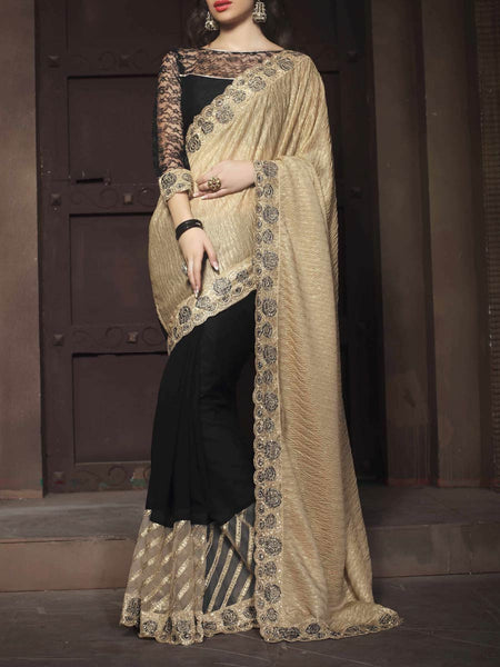 Zari Work Saree From Surat In Black & Beige - ST-PSSA26AG3