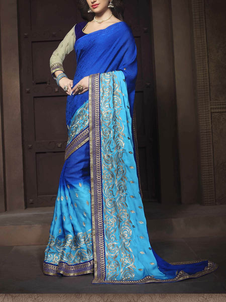 Zari Work Saree From Surat In Sky & Royal Blue - ST-PSSA26AG4