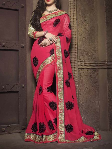 Zari Work Saree From Surat In Pink - ST-PSSA26AG9