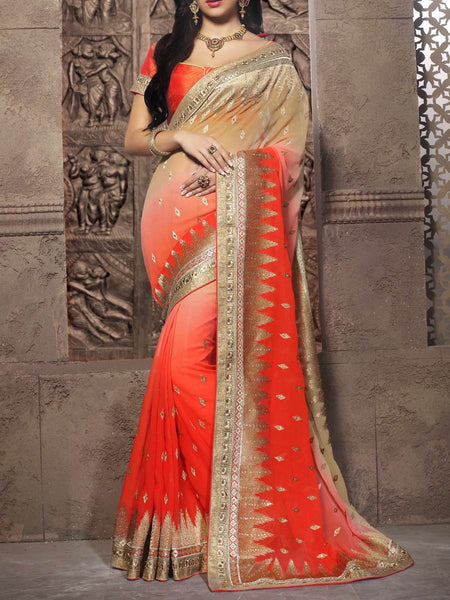 Zari Work Saree From Surat In Orange - ST-PSSA26AG16