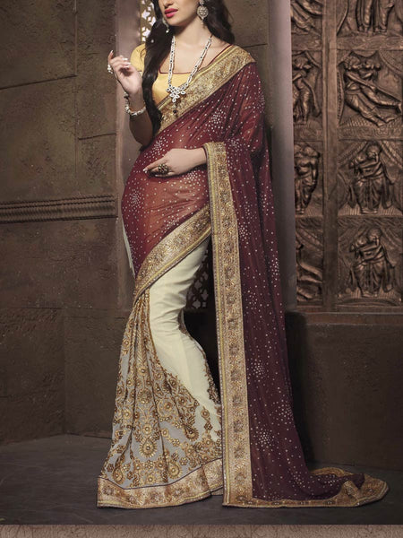 Zari Work Saree From Surat In Brown & Beige - ST-PSSA26AG19