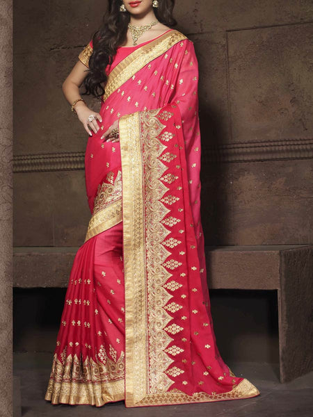Zari Work Saree From Surat In Pink - ST-PSSA26AG20