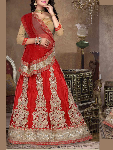 Net Fabric Lehenga Choli from Surat In Red - ST-PSL5AG4