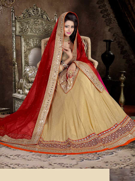Crushed Lycra Fabric Lehenga Choli from Surat In Beige & Maroon - ST-PSL5AG5