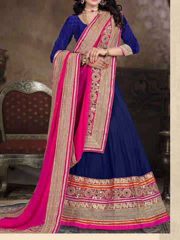 Art Silk Fabric Lehenga Choli from Surat In Duke Blue & Pink - ST-PSL5AG7