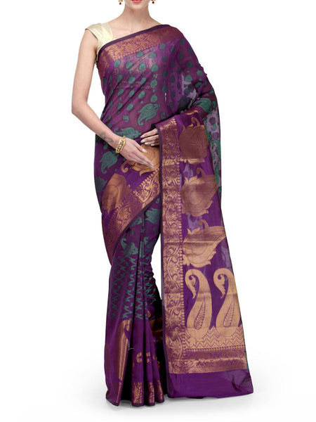 Banarasi Saree In Cotton Blend Magenta - RB-BPBUSA11JL6