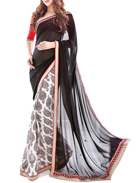Saree From West Bengal In Black & White - PWBSAI19JN72