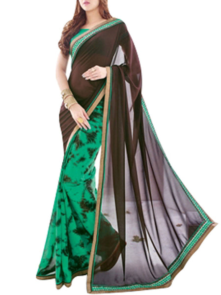 Saree From West Bengal In Green & Black - PWBSAI19JN78