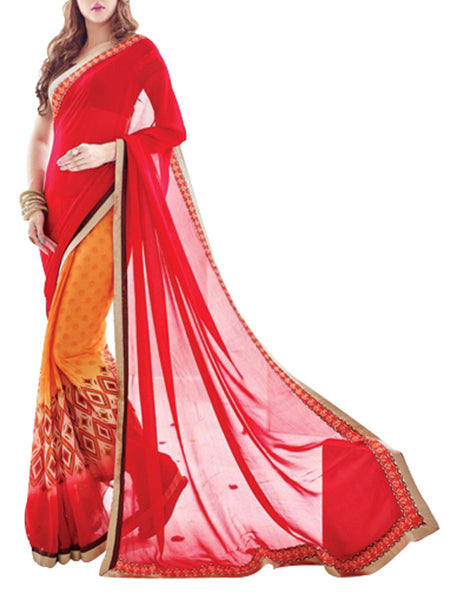 Saree From West Bengal In Orange & Red - PWBSAI19JN79