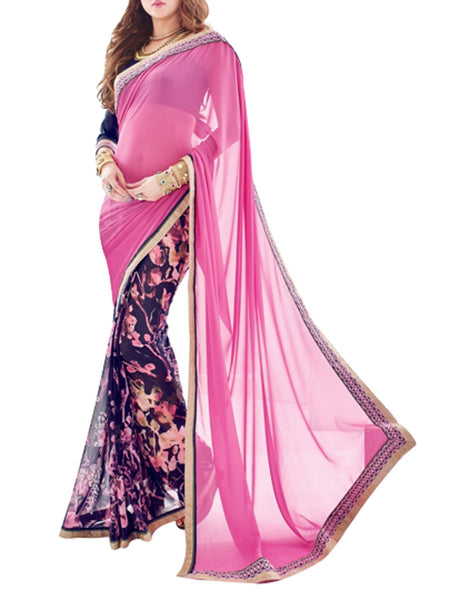 Saree From West Bengal In Pink & Mauve - PWBSAI19JN84