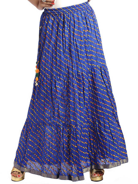 Yellow Top & Royal Blue Jaipuri Skirt With Bandhej Stole - KPLUS28JN20