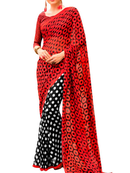Georgette Multi Saree With Georgette Red Blouse - PWBSAI28JL104