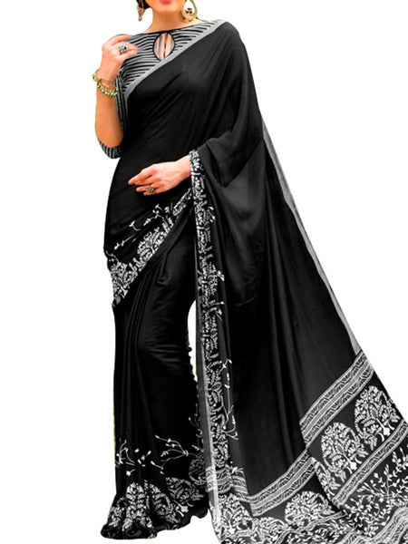 Georgette Black Saree With Georgette Multi Blouse - PWBSAI28JL107