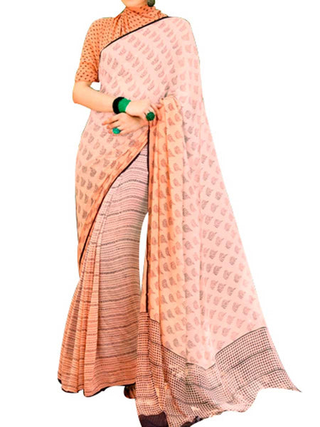 Georgette Salmon Saree With Georgette Salmon Blouse - PWBSAI28JL109