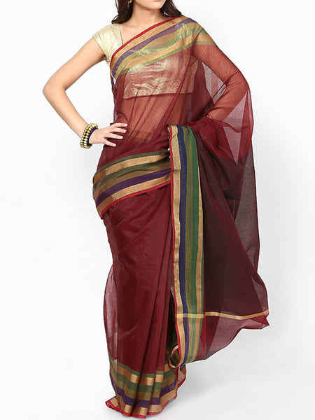 Banarasi Saree In Supernet Wine - RB-BPBUSA11JL125