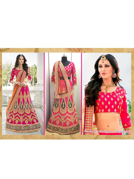 Heavy Silk Lehnga Saree With Embroidery From Surat In Orange - AE-PDS30AG1