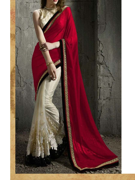 Heavy Net-Georgette Saree With Thread Work In Red-White - AE-PDS30AG2