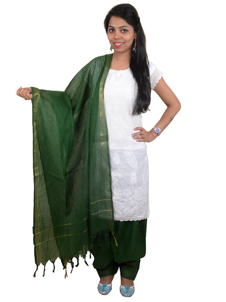 Dark Green Salwar Dupatta Set In Mangalgiri Cotton From Andhra Pradesh - MPBS20AR2