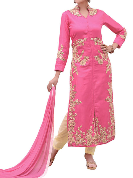 Pink Cotton Satin Suit With Bottom And Dupatta - ST-PKAS9JY37